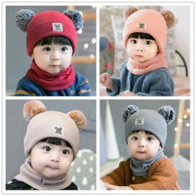 婴儿帽子冬季男女宝宝毛线帽加厚保暖0-2岁