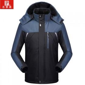 吉普盾男冬装中年户外休闲加绒加厚保暖外套男大码外套