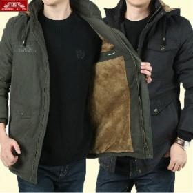 战地吉普男装男士棉衣冬季加绒加厚中年连帽夹克外套男