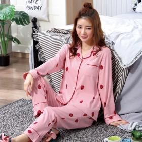 可爱韩版秋冬季睡衣女士长袖两件套休闲宽松加大码家服