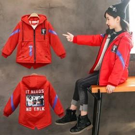 女童加绒风衣棉服外套新款秋冬装韩版印花卡通字母