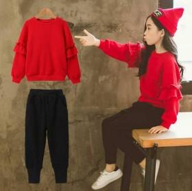 新款红色洋气套装红色上衣黑色裤子两件套
