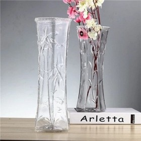 富贵竹中号玻璃透明花瓶简约现代六角花纹随机