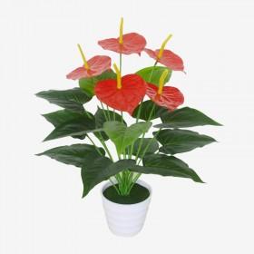 仿真红掌小盆栽假花盆景装饰摆件0.5米高