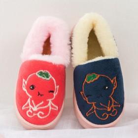 儿童棉鞋包跟中大童居家保暖防滑棉拖男女童室内加绒鞋