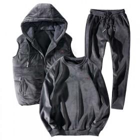 卫衣套装男装三件套休闲运动秋冬外套
