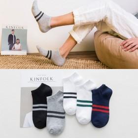 新款男士船袜四季短筒全棉袜条纹浅口隐形袜运动男袜子