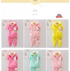 儿童加绒童装1-2-3-4岁女宝宝秋冬装卫衣两件套