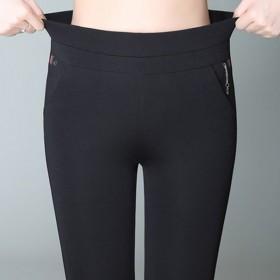 加绒加厚裤子女秋冬高腰外穿打底裤女士大码铅笔长裤