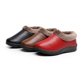 棉鞋女式家居妈妈鞋加绒加厚棉鞋PU防水防滑保暖雪地
