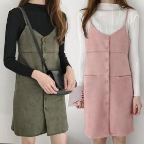 连衣裙秋装2018新款女单排扣麂皮绒V领吊带连衣裙