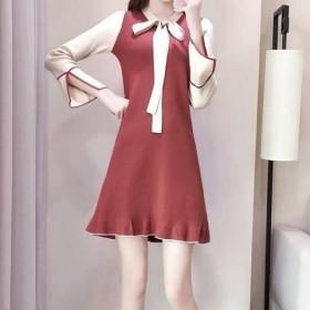 2018韩版针织连衣裙秋冬款荷叶边喇叭袖a字裙