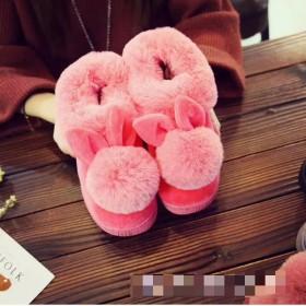 秋冬季兔毛球球棉拖鞋女家居加厚加绒室内外防滑包根鞋