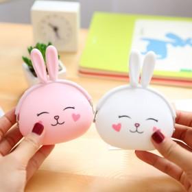 卡通硅胶零钱包 韩国可爱兔子零钱包 糖果色小包 钥
