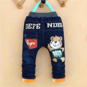 新款童裤冬季男童宝宝棉裤牛仔裤夹棉休闲卡通中腰长裤