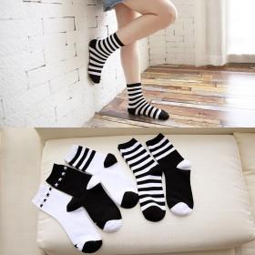 新款女士中筒棉袜 黑白条纹系列袜 潮袜子经典百搭