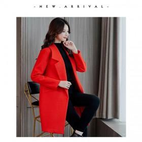 韩版2018新款外套女中长款毛呢大衣女