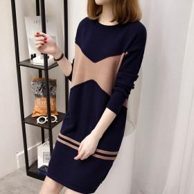 冬季新款连衣裙宽松长袖女装中长款大码加绒加厚