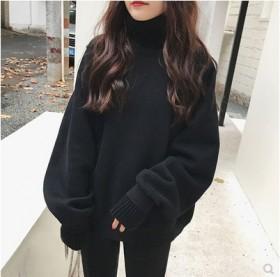 卫衣女秋冬新款假两件高领加绒加厚毛衣外套韩版
