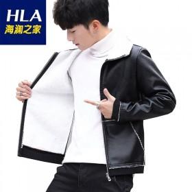 【海澜之家】同款男士加绒毛领皮衣外套修身PU皮夹克