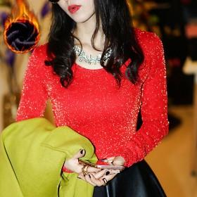 2018韩版加绒网纱打底衫高领修身上衣加厚蕾丝衫