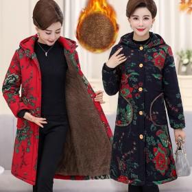 中老年女装胖妈妈中长款棉袄加绒棉服外套棉衣