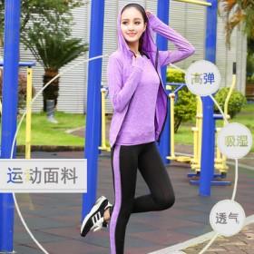 新款条纹瑜伽健身套装修身显瘦指套袖口女大码跑步运动