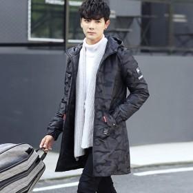 冬季新款男士羽绒服长款迷彩连帽白鸭绒男士休闲外套潮