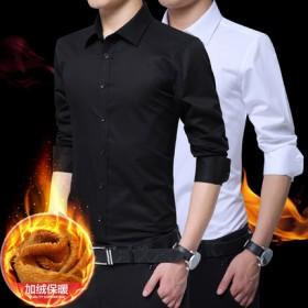 白衬衫男长袖薄款商务休闲黑寸衫青年韩版潮流加绒保暖