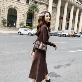 秋冬季毛衣中长款小清新时尚高领针织连衣裙