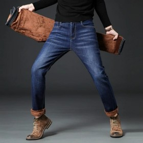 加绒牛仔裤男弹力加厚直筒宽松休闲中年保暖裤
