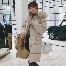 2018冬季款过膝时尚棉袄加厚宽松大毛领面包服