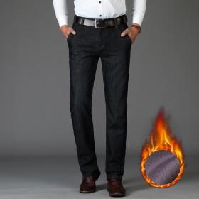 战地吉普男装中腰直筒牛仔裤加绒加厚保暖潮男休闲长裤