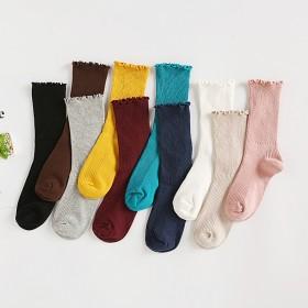 日系秋冬纯棉薄款女袜 纯色木耳边复古短靴袜套长筒袜