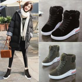 内增高女鞋女百搭韩版高帮鞋休闲鞋秋冬季厚底加绒鞋子