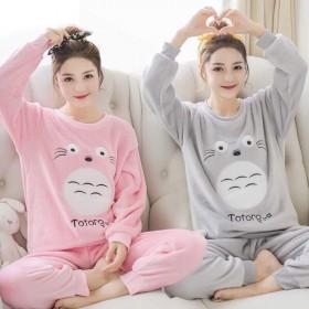 睡衣女冬天加厚珊瑚绒新款韩版可爱卡通法兰绒家居服套