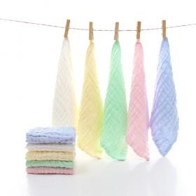 5条 纯棉纱布方巾婴儿口水巾6层泡泡纱挂绳面巾