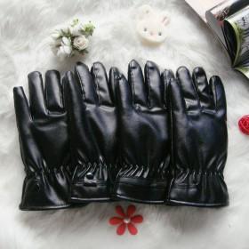 保暖触屏皮手套冬季男骑行摩托车防水pu手套女加绒