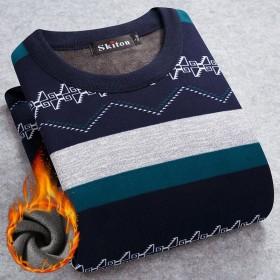保暖衣秋冬季针织衫套头圆领男士毛衣加绒加厚长袖