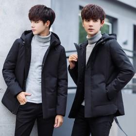 冬季羽绒服男士外套新款青少年青年韩版加厚羽绒衣男0