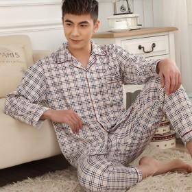 限时特价男士睡衣春秋季针织棉家居服长袖开衫睡衣套装
