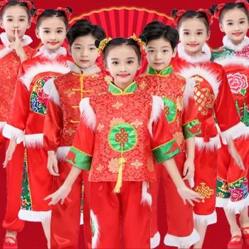 儿童元旦喜庆开门红秧歌演出服