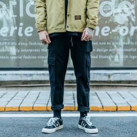 港风潮牌原创日系男士纯色多口袋工装长裤布裤休闲裤男