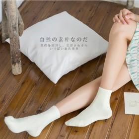 新品 冬季季5双女士袜子中筒纯棉袜纯色粮果色保暖