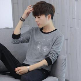 学生男式t恤长袖新款批发 青年纯色休闲潮2018秋