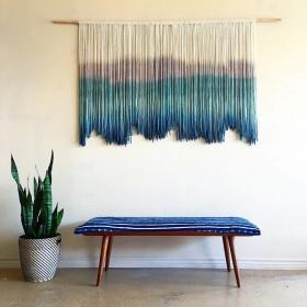 木竹织造 in北欧手工编织正方形天蓝色挂毯民宿壁毯