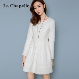 拉夏贝尔 秋冬季保暖白色毛呢打底气质蕾丝连衣裙