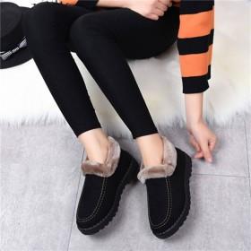 冬季新款老北京布鞋女士棉靴平底加厚防滑妈妈鞋中老年