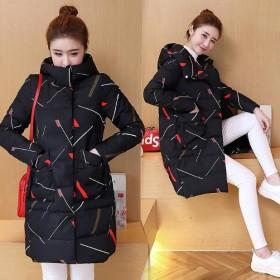 棉服女中长款新款韩版大码宽松连帽加厚印花冬季外套女