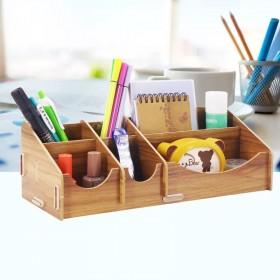 欧式diy桌面收纳盒木质笔筒办公收纳多功能笔架韩国